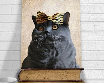 British Blue Cat Art Print - Bow on Head - grey cat Print cat gift for cat lovers British Shorthair cat art cat portrait Cat illustration