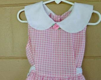 Little Girls Gingham Dress /  Vintage Cotton Dress /  Size 6
