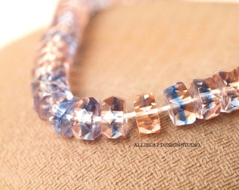 20 Blue Pink 6mm Faceted Disc Czech Glass Beads (SB095)