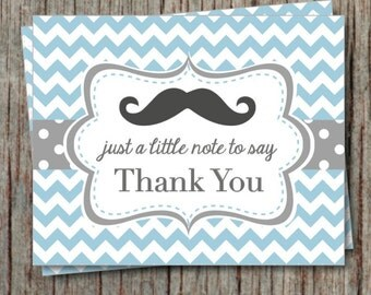 Mustache Birthday Thank You Cards Little Man Baby Shower Powder Blue Chevron Printable File Instant Download - 005
