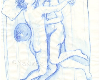 Blue Couple - Original pencil and watercolor drawing - Mature