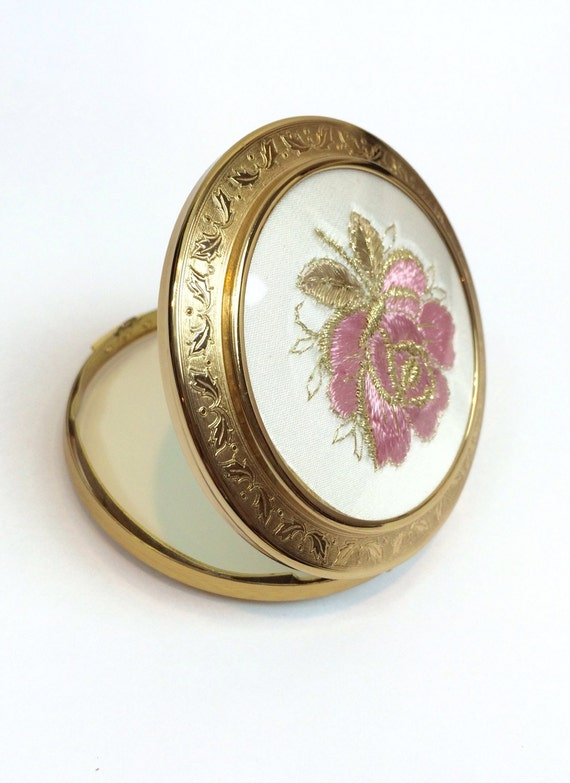 Vintage Compact Mirror Antique Metal By Antiquejewelryforfun