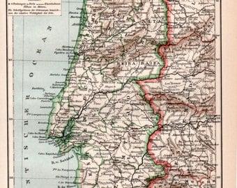 1898 Portugal Antique Map Old Print Vintage Lithograph Portuguese Map Faro Algarve Lisbon Évora Funchal Madeira Coimbra Porto Braga Alentejo