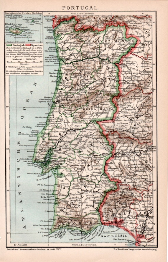 1898 landkarte portugal antique map alten drucken vintage. Black Bedroom Furniture Sets. Home Design Ideas