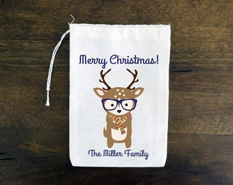 Hipster Reindeer Personalized Holiday Muslin Gift Bags