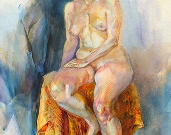 Original nude painting - naked woman model , watercolor on paper