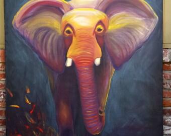 Original Wild Elephant in Africa Safari Animals Endangered Large Painting Original Modern Art 48x60 by ChantelKeiko