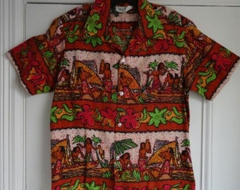 60's Hawaiian Shirt Cotton Barkcloth Gauguin Novelty Print Aloha Shirt