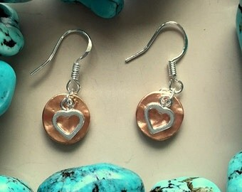 Bright Hammered Copper and Small Silver Heart Earrings