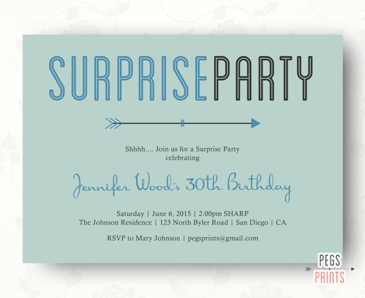 Surprise 30th birthday invitation surprise party invitation - Invitation anniversaire surprise ...