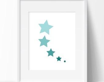 Teal and Aqua Shooting Star, Minimalist Print, Minimalist Art, Star Print, Nursery Art, Graphic Art, Printable Art, Wall Design, Home Decor
