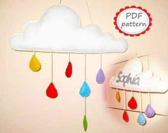 Felt mobile pattern cloud with raindrops White Rainbow DIY room decor pdf sewing instructions tutorial - handmade personalized gift hanging