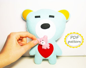 Felt bear pattern with baby in pocket - DIY cute toy pdf sewing instruction suffed soft plush tutorial Valentine day gift - Instant Dawnload