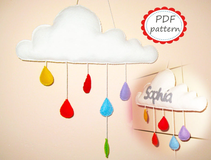Felt mobile pattern cloud with raindrops White Rainbow DIY room decor pdf  sewing instructions tutorial   handmade personalized gift hanging. Felt mobile pattern   Etsy