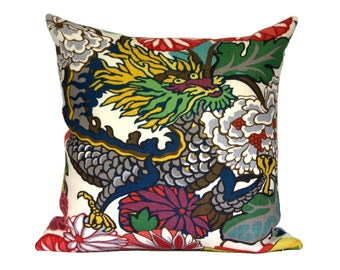 DRAGON FACE - Schumacher Chiang Mai Dragon Alabaster (1 side) - Designer Pillow Covers - Choose Your Size