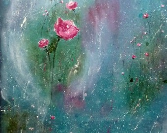 Abstract Floral Painting - Botanical Art - abstract roses