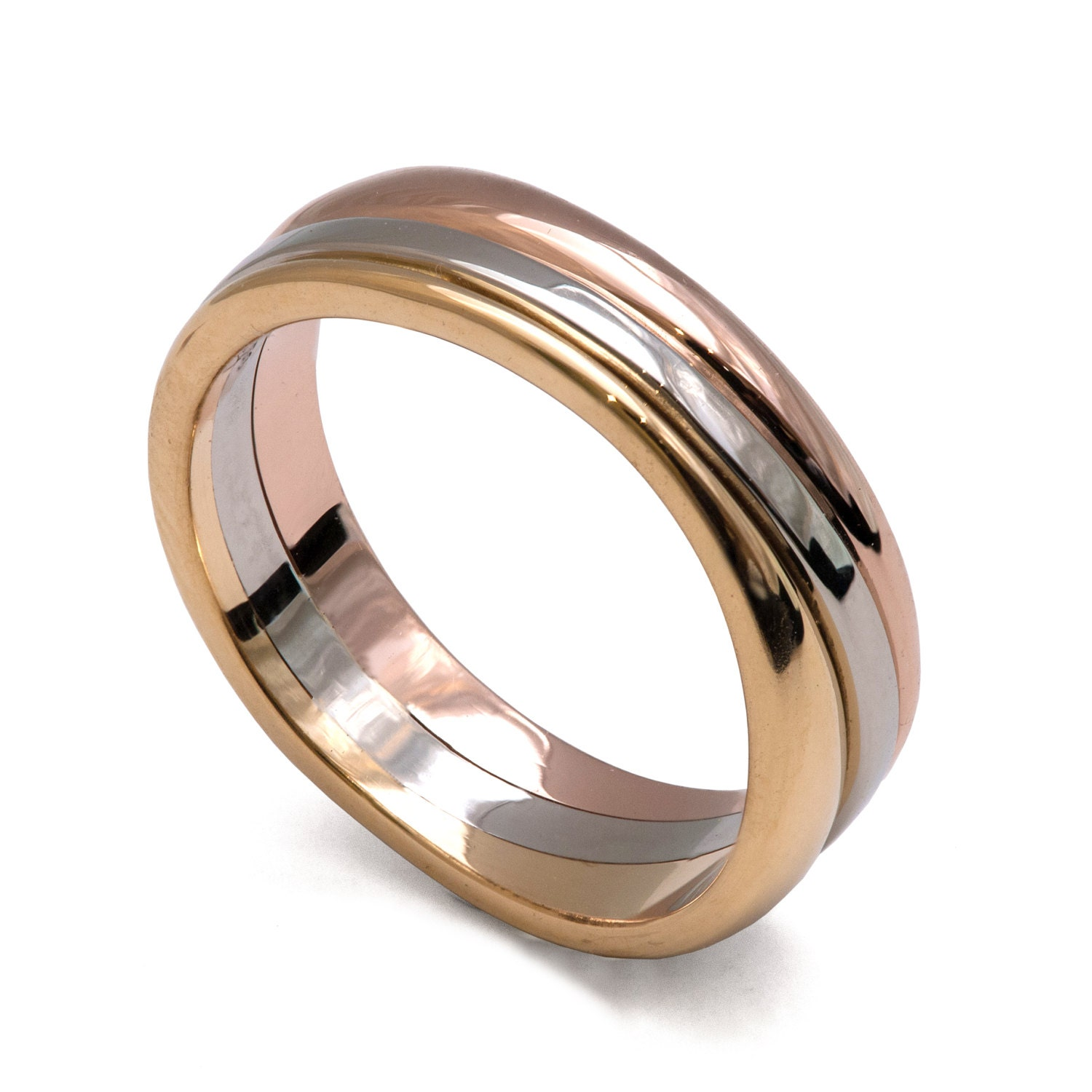 wave tricolor wedding band unique wedding band wedding ring