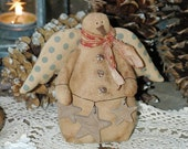 Primitive Snowman-Primitive Snowman Angel-Rustic Country Christmas-Christmas in July
