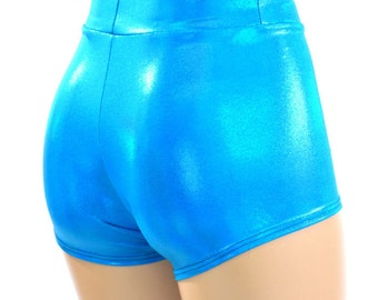 High Waist Peacock Blue Holographic Metallic Spandex Booty Shorts   151069