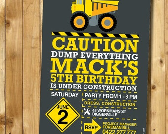 Truck Custom Printable Invitation - DIY CUSTOM Printable Construction Party Invitation