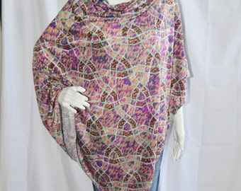 Unique Boho Poncho / Nursing Cover/ Lightweight Shawl/ One Shoulder Top / Maternity Top / Oversized Poncho Top / New Mom Gift / Gift for her