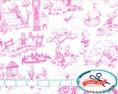 NURSERY RHYME Fabric by the Yard, Fat Quarter Pink Baby Fabric Mother Goose Fabric 100% Cotton Fabric Quilting Fabric Apparel Fabric t5-12