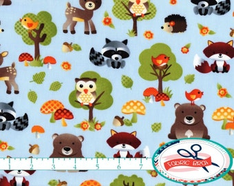 FOX Fabric by the Yard Half Yard or Fat Quarter Baby Fabric WOODLAND Fabric Owl & Hedgehog Fabric Quilting Apparel 100% Cotton Fabric t3-25