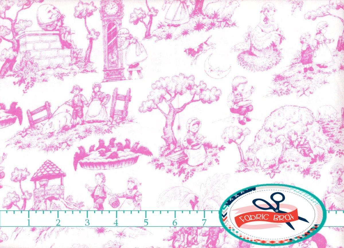 Nursery rhyme fabric by the yard fat quarter pink baby fabric for Baby nursery fabric yard