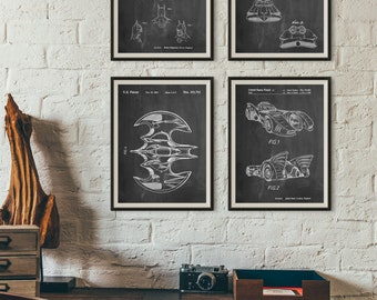 Batman Patent Posters Group of 4, Batman Cowl, Batman Gifts, Batmobile Blueprint, Movie Posters, PP1181