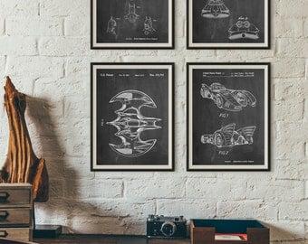 Batman Patent Posters Group of 4, Batman Cowl, Batman Gifts, Batmobile Blueprint, Movie Posters, PP1181