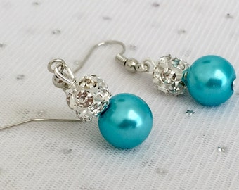 Turquoise Blue Bridesmaid Rhinestone Earrings, Aqua Blue Wedding Jewelry Sets, Beach Wedding, Malibu Blue Bridesmaid Earrings Jewelry Gift