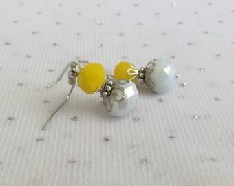 Yellow Beaded Dangle Earrings, Yellow Wedding Jewelry, Yellow Bridesmaid Jewelry Gift, Yellow and White Beaded Jewelry, Yellow Jewelry Gift
