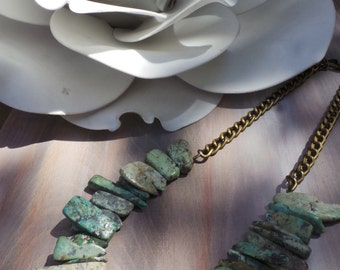 Turquoise necklace. Bohemian necklace. African turquoise necklace. Natural stone necklace. Tribal necklace. Boho necklace.