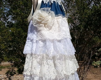 Country Flower Girl Dress - Size 5/6 - Denim and Lace - Cowgirl Lace Dress - Shabby Chic Denim Flower Girl - Ready to Ship