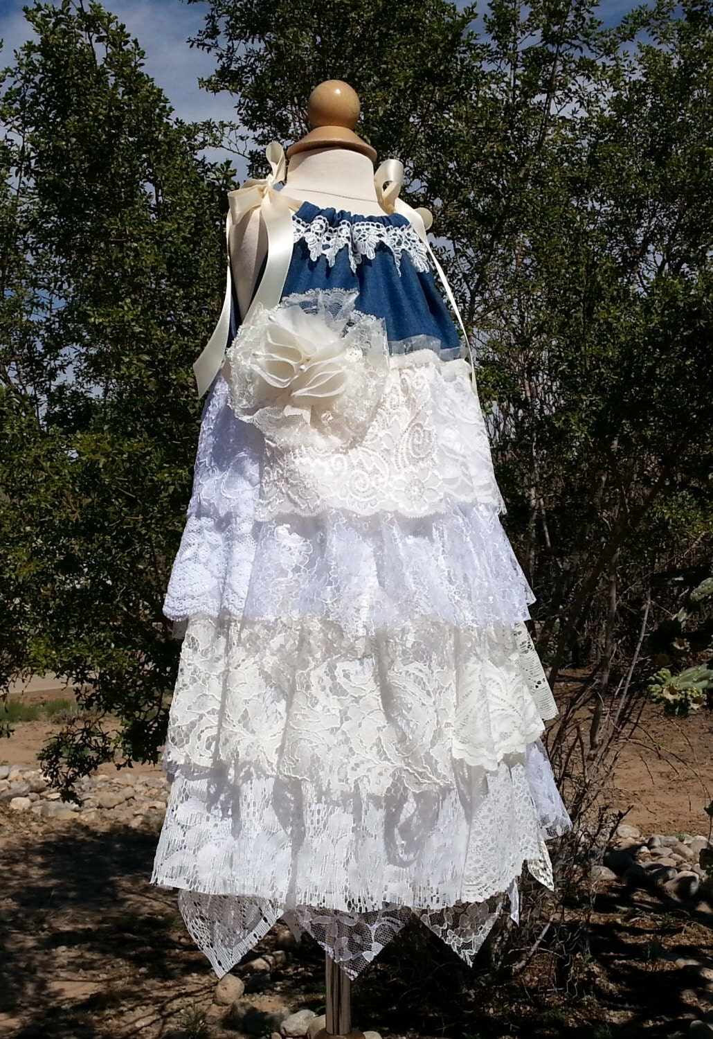 Country Flower Girl Dress Size 5 6 Denim and Lace