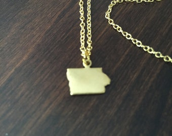 Iowa Necklace, Iowa, gold Iowa necklace, Iowa jewelry, Iowa pendant, gold Iowa pendant, state necklace, state jewelry, gold necklace