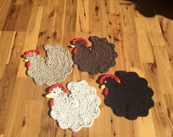 Set of 4 - 100% Cotton Crocheted Chicken Potholders
