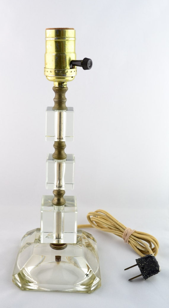 Vintage Glass Cube Table Lamp for Up-Cycle Recycle Project or