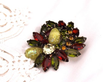 Large Vintage Jeweled Brooch Costume Jewelry in Chartreuse, Amber and Olive Green