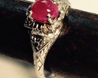 Antique Ruby Cabochon 18K White Gold Vintage Ring Fancy Carved Dainty Feminine Timeless Rosy Red July Birthstone Engagement