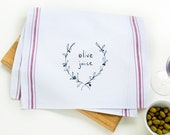 Olive Juice - I Love You - red striped cotton kitchen towel -  hand drawn illustration - screen printed vintage feel tea towel