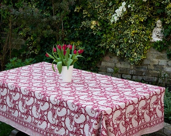 Block printed TABLECLOTH - Red paisley pattern