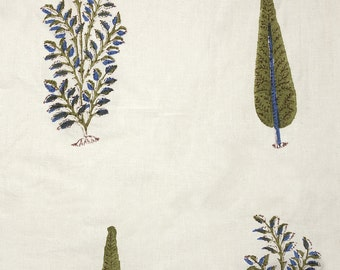 COTTON FABRIC DESIGN 3 - Block printed cypress tree and foliage motif