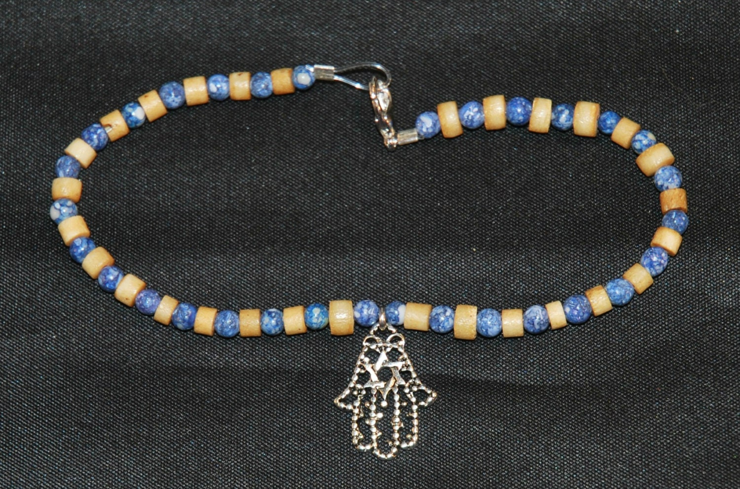 Plus size 9 inch wood and blue stone beads ankle bracelet with for Plus size jewelry bracelets