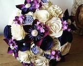 Paper wedding bouquet flowers roses purple lilac ivory aubergine cadbury wine winter autumn fall vintage rustic romantic theme