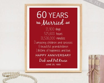 60th Anniversary Gift - 60 years Wedding Anniversary - Personalized 60th Wedding Print - Anniversary Print - DIGITAL file!