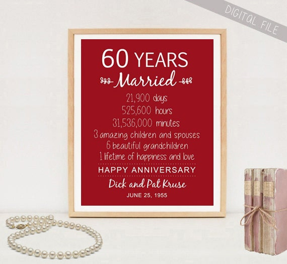 Wedding Gift For 60th Anniversary : 60th Anniversary Gift 60 years Wedding Anniversary