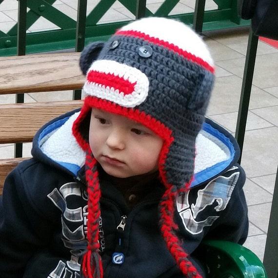 Crochet Sock Monkey Hat with Ear Flaps all by ...