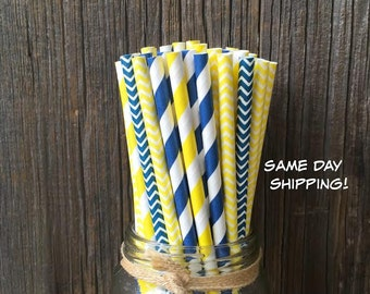 100 Navy and Yellow Stripe and Chevron Paper Straws - Birthday  or Party Supply, Free Shipping!