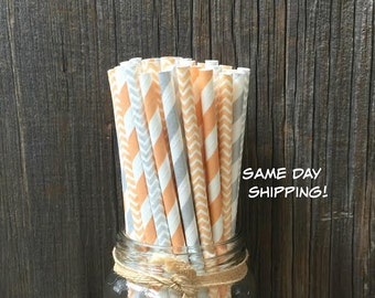 Peach Paper Straws, 100 Stripe Straws, Silver Chevron, Birthday Party, Carnival, Wedding Supply,  Free Shipping